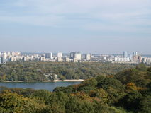 Kiev, Ukraine. Dnepr River. The left bank of the city royalty free stock image