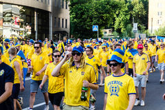 KIEV, Ukraine, EURO 2012 - Marsh of swedish fans Stock Photo