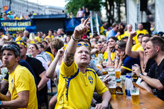 KIEV, Ukraine, EURO 2012 - Swedish fans in Fanzone Stock Photos