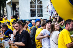 KIEV, Ukraine, EURO 2012 - Swedish fans in Fanzone Stock Image
