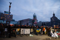 KIEV, UKRAINE - 20 février 2014 : Calme et une trêve précaire sur euromaidan Photo libre de droits