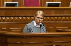 Verkhovna Rada of Ukraine. KIEV, UKRAINE - Feb. 07, 2019: Leader of the Batkivshchyna faction Yulia Tymoshenko during a meeting of the Verkhovna Rada of Ukraine royalty free stock photos