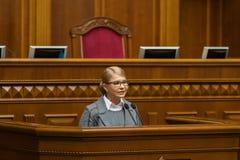 Verkhovna Rada of Ukraine. KIEV, UKRAINE - Feb. 07, 2019: Leader of the Batkivshchyna faction Yulia Tymoshenko during a meeting of the Verkhovna Rada of Ukraine stock photography