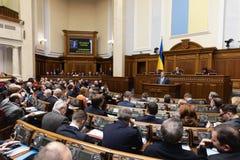 Verkhovna Rada of Ukraine. KIEV, UKRAINE - Feb. 07, 2019: President of Ukraine Petro Poroshenko during a meeting of the Verkhovna Rada of Ukraine, in Kiev royalty free stock photos