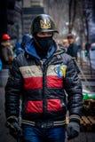 kiev ukraine 23 februari, 2014 Mensen die op barricad protesteren royalty-vrije stock afbeelding