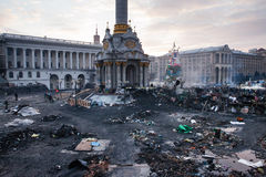 KIEV, UKRAINE - February 20, 2014: Independent square in Kiev, Ukraine on 20 february afternoon Stock Photos