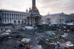 KIEV, UKRAINE - February 20, 2014: Independent square in Kiev, Ukraine on 20 february afternoon Stock Photos