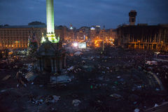 KIEV, UKRAINE - February 20, 2014: Independent square in Kiev, Ukraine on 20 february night Stock Image