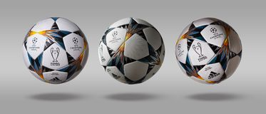 Free Kiev, Ukraine - February 22, 2018: Three Turn The Side Adidas Official UEFA Champions League Ball On A Gray Background Stock Photography - 111410992