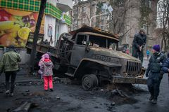 Kiev Ukraine. February 23, 2014. Burned cars on the streets of t stock photo