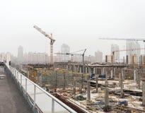 KIEV, UKRAINE - February 15, 2014: construction of a new entertainment center Royalty Free Stock Photos