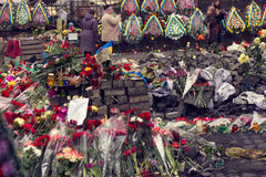 Kiev, Ukraine, February: flowers, lamps in memory Royalty Free Stock Photography