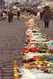 Kiev, Ukraine, February: flowers, lamps in memory Royalty Free Stock Image