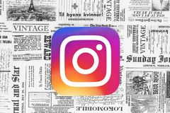 Instagram icon on retro newspaper background vector illustration