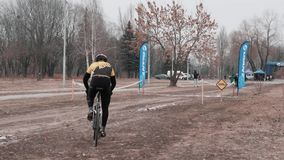 Kiev / Ukraine -February, 24 2019 Kiev Cyclocross Cup. Cyclist heading towards finish stock video footage