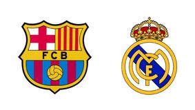 Two best spanish football clubs - FC Barcelona and Real Madrid FC. Kiev, Ukraine - February 11, 2019: Logos of two best spanish football clubs - FC Barcelona and vector illustration