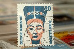 Postage stamp of Germany. Edition on Royal families, shows Nefertiti Bust, 1994 stock photography