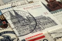 Postage stamp of Germany. UNESCO World Heritage, shows Cologne Cathedral, Shallow depth of field stock images