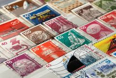 Postage stamps of Germany of the twentieth century on Technical topics. Shallow depth of field stock image