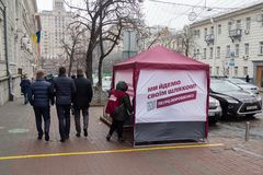 Kiev, Ukraine - February 20, 2019: Pre-election campaign before the presidential election. Camping tent of the presidential candidate of Ukraine Petro stock image