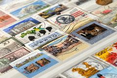 Set of postage stamps of Germany of the twentieth century, Shallow depth of field. Postage stamps of Germany of the twentieth century, Shallow depth of field stock photography