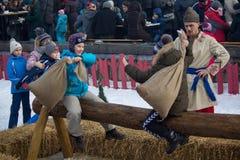 Kiev, Ukraine - February 17, 2018: Traditional fun at the celebration stock photography