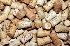 KIEV, UKRAINE - FEBRUARY 18 : Wine corks editorial background with drops of wine on February 18, 2017 in Kiev, Ukraine Stock Image