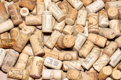 KIEV, UKRAINE - FEBRUARY 18 : Wine corks editorial background with drops of wine on February 18, 2017 in Kiev, Ukraine Stock Images