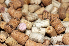 KIEV, UKRAINE - FEBRUARY 18 : Wine corks editorial background with drops of wine on February 18, 2017 in Kiev, Ukraine Royalty Free Stock Photos