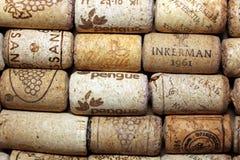 KIEV, UKRAINE - FEBRUARY 18 : Wine corks editorial background with drops of wine on February 18, 2017 in Kiev, Ukraine. KIEV, UKRAINE - FEBRUARY 18 : Wine corks Royalty Free Stock Photo