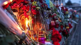 KIEV, UKRAINE - February 25, 2015: Yahrzeit candles and flowers at the Independence Square in Kiev stock video footage