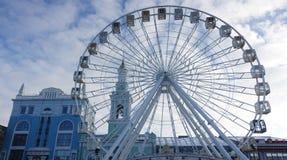 Ferris wheel in Kontraktova Square in Kiev. 01 20 2018 Kiev, Ukraine. The Ferris wheel in Kiev on Kontraktova Square. Winter day stock image
