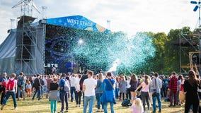 Kyiv, Ukraine - 07.09.2019: Atlas Weekend music festival outdoors, first day. Millennials are relaxin at music festival