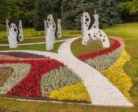 KIEV, UKRAINE-Flower Show Landscape Park in Kiev. The compositio Stock Images