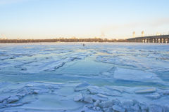 Kiev - Ukraine, Frozen Dnieper river Royalty Free Stock Photography