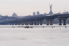 Kiev - Ukraine, Frozen Dnieper river Stock Photo