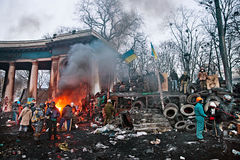 KIEV, UKRAINE - January 26, 2014: Euromaidan protesters rest and Royalty Free Stock Images