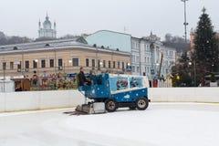 Kiev, Ukraine - January 28, 2017: Mishina fills the rink on Kontraktova square. In the eve of Christmas celebration stock image