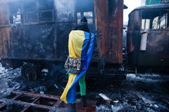 KIEV, UKRAINE - January 20, 2014: The morning after the violent Stock Photos