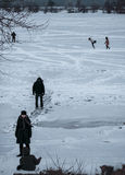 People are  skating on the frozen lake. Overcast day. Children are skating on the frozen lake. Overcast day Royalty Free Stock Image
