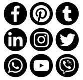 Popular circle social media black logos. Kiev, Ukraine - January 16, 2018: Popular circle social media black logos printed on paper: Facebook, Twitter, Instagram Royalty Free Stock Photos