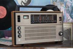 Kiev, Ukraine - January 20, 2018: Retro radio receiver of Soviet production. As a shopping center decoration Royalty Free Stock Images