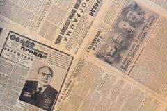 Kiev, Ukraine - January 2018: Selection of Soviet Newspapers with photos. Of Soviet leaders Stock Photo