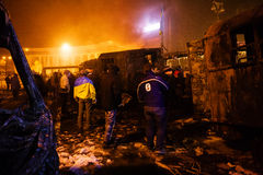 KIEV, UKRAINE - January 20, 2014: Violent confrontation and anti Royalty Free Stock Photography
