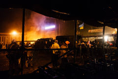 KIEV, UKRAINE - January 20, 2014: Violent confrontation and anti Stock Photo