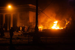 KIEV, UKRAINE - January 20, 2014: Violent confrontation and anti Royalty Free Stock Images