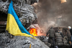 KIEV, UKRAINE - 25 janvier 2014 : Protestations anti-gouvernement de masse Photos libres de droits