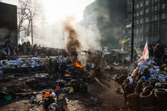 KIEV, UKRAINE - 26 janvier 2014 : Protestations anti-gouvernement de masse Photographie stock