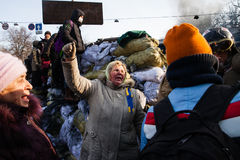 KIEV, UKRAINE - 26 janvier 2014 : Protestations anti-gouvernement de masse Photos stock