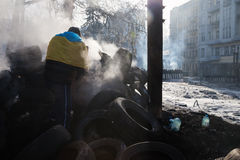 KIEV, UKRAINE - 26 janvier 2014 : Protestations anti-gouvernement de masse Photographie stock libre de droits